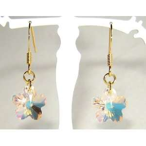 Gold Plated Swarovski Crystal Flower Earrings Arts, Crafts & Sewing