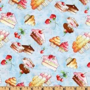 44 Wide Tea & Sweets Sweet Tooth Blue Fabric By The Yard