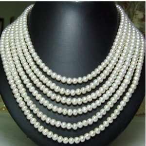 6 Strand White Freshwater Pearl Necklace Sterling Silver