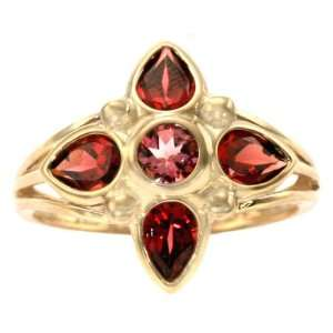 Yellow Gold Floral Gemstone Ring Multi Garnet Pink Tourmaline, size8.5