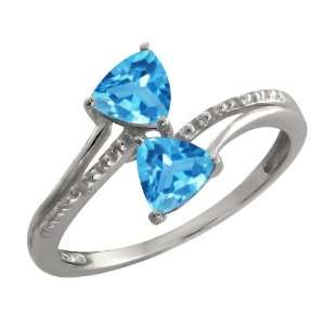 16 Ct Genuine Trillion Swiss Blue Topaz Gemstone Argentium Silver Ring