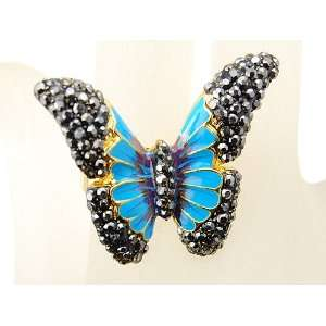 Crystals Rhinestones Turquoise Colored Enamel Butterfly Fashion Ring
