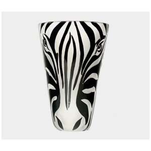 Correia Designer Art Glass, Vase Zebra Face b/w: Home & Kitchen