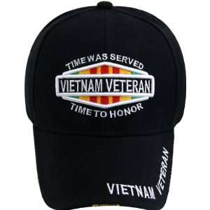 Vietnam Veteran Baseball Cap, Time Was Served Time to Honor, Black Hat