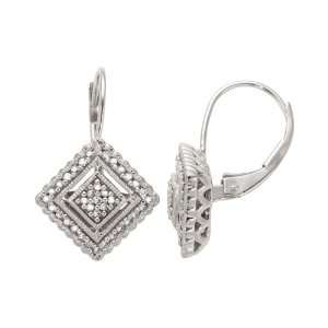 10K White Gold Diamond Vintage Earrings (1/5 cttw, I J Color, I2 I3