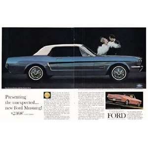Ad 1964 Ford Mustang 2 Page Ad; Vinyl Covered Roof Ford Books