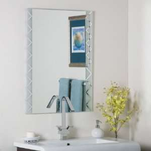 Zebra   Frameless Wall Mirror, Etched/Frosted Glass