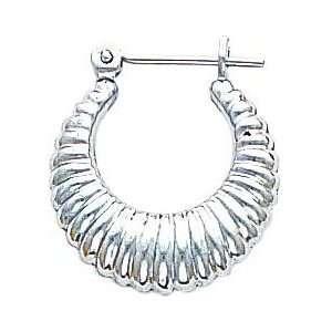 White gold Hoop Earrings Polished Ear Jewelry D Jewelry