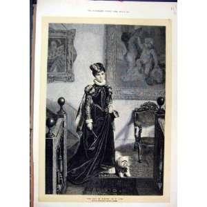 1872 Maid Honour Woman Dog Antique Fine Art