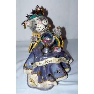 Heather Goldminc Blue Sky Clayworks Large Ceramic Cat Fortune Teller