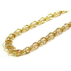 14k Yellow Gold 5mm Double Link Charm Bracelet, 7.25