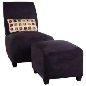 Adrien Microsuede Armless Chair and Ottoman Set in Black