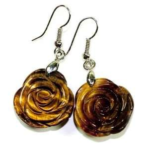 Rose Carved Tiger Eye Gemstone Earrings with French Wire