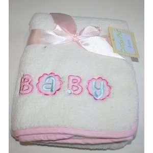 Cutie Pie Baby Girls Baby Blanket   White/Pink   30 x 30