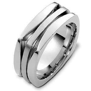 White Gold Designer High Polish Wedding Band Ring   10.75 Jewelry