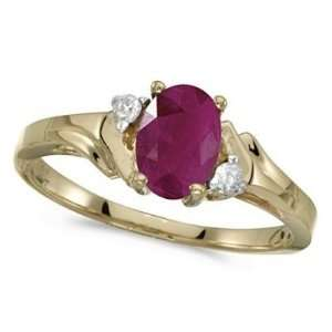 Oval Ruby and Diamond Ring in 14K Yellow Gold (0.95ct