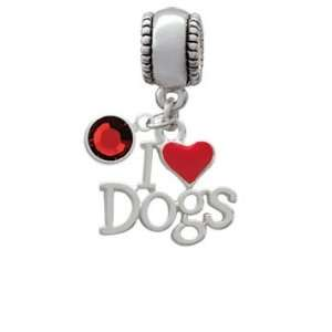 I love Dogs with Red Heart opean Charm Bead Hanger with Siam
