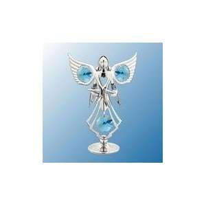 Chrome Plated Angel / Star Free Standing   Blue   Swarovski Crystal