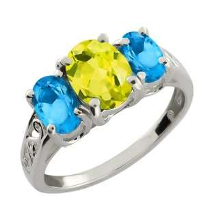 Ct Oval Canary Mystic Topaz and Swiss Blue Topaz Argentium Silver Ring