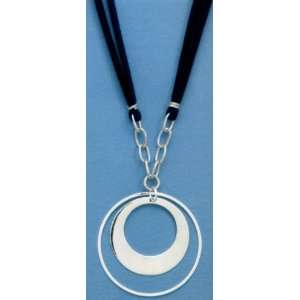 Double Strand Blue Suede Necklace with 1 13/16 inch Double