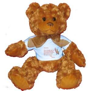 Dear Santa Letter Spoil Vanessa Rotten Plush Teddy Bear with BLUE T