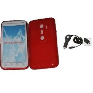 Mobile Palace   Red gel skin case pouch holster with car charger for