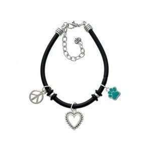 Small Teal Paw Black Peace Love Charm Bracelet Arts