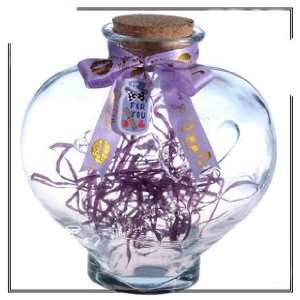 Heart Shaped Wishing and Luck Glass Bottle/620ml Health