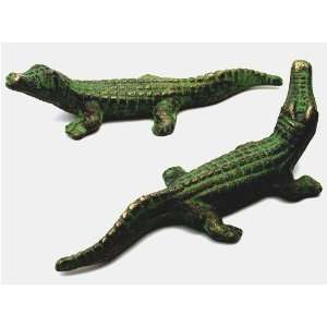 Cast Iron Green/Gold Alligators Set (2)