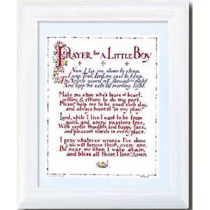 Prayer for a Little Boy Picture 10x 12 Antique White Frame Under