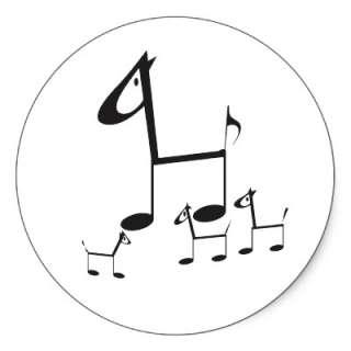 Music symbols stick animals, cartoon stickers. Customisable.