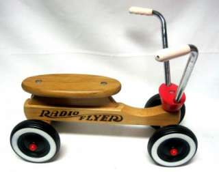 Vintage Radio Flyer Wooden Ride On Childs Scooter Quid Tricycle EUC