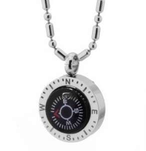 JN13 Women Fashion 316L Stainless Steel Black & Silver Compass Pendant