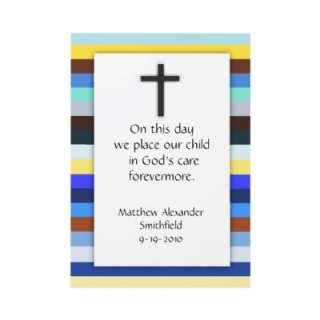 Blue Multi Stripe Cross Boys Baptism Invitations by csinvitations