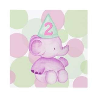 Pink Elephant Girls Birthday Party Custom Invite from Zazzle