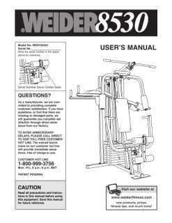 Weider 8530 | user manual page 20.