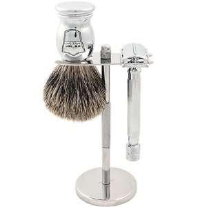 Parker 82R Safety Razor Shave Set   Includes Pure Badger Brush, Stand