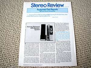 Acoustic Research AR 9 speaker review reprint, #1