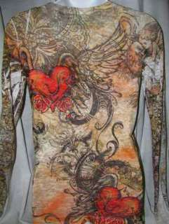 SUBLIMATION Scroll DESERT TAN ANGEL WING RHINESTONE HEART TATTOO TOP M