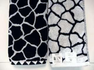 Set 2 Hand Towels Giraffe Animal Print Black White KARIBU Cotton