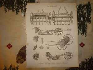 1810 ANTIQUE FARM TOOL EQUIPMENT PLOW PRINT HUSBANDRY N