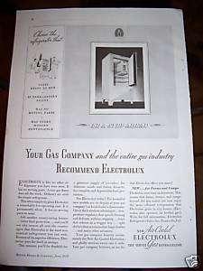 1934 Antique Servel Electrolux Gas Refrigerator Ad