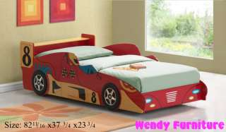 Childrens Blue Red Black Pink Wood Race Car Twin Bed Play Bed