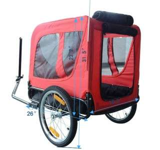 New Deluxe Large Pet DOG BIKE Bicycle Trailer PET CARRIER Red Black