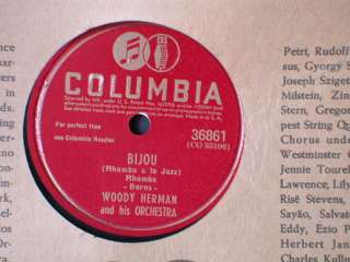 78 rpm COLUMBIA BIJOU Woody Herman BIG BAND Jazz JUKEBOX RECORD