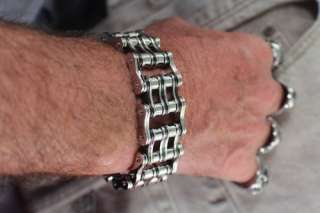 STEEL & BLACK BIKER GOTH STYLE BIKE CHAIN BRACELET 8 HAND MADE