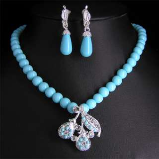 Wedding Bridal pearl &crystal necklace earring set S297