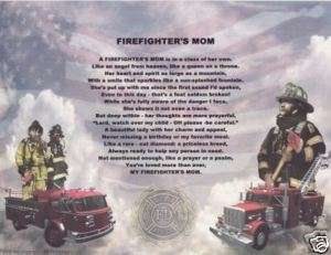 FIREMAN Firefighter MOM Poem Personalized Print Name ~