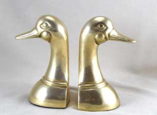 Mallard Duck Head Figural Pair Bookend Book End Bird Decor VTG