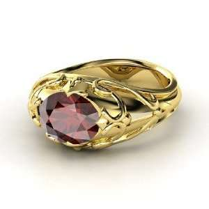 Hearts Crown Ring, Oval Red Garnet 18K Yellow Gold Ring Jewelry